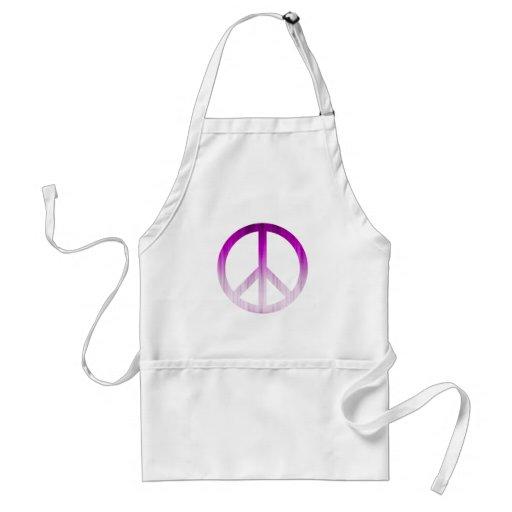 Púrpura y blanco texturizados del símbolo de paz delantal