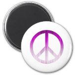 Púrpura y blanco texturizados del símbolo de paz imanes para frigoríficos