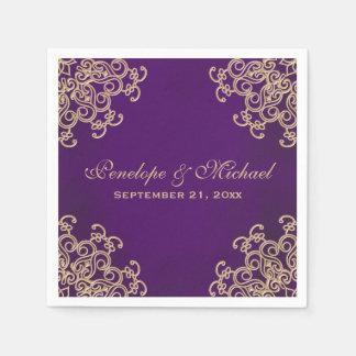 Púrpura y boda indio del estilo del oro servilleta desechable