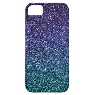 Púrpura y brillo de Ombre de la aguamarina falso iPhone 5 Cárcasa