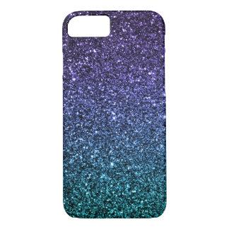 Púrpura y brillo de Ombre de la aguamarina falso Funda iPhone 7