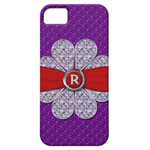 Púrpura y brillo rojo, monograma de la flor del iPhone 5 carcasa