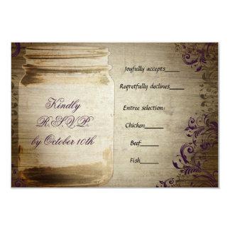 Púrpura y Brown del tarro de albañil que casan Invitación 8,9 X 12,7 Cm
