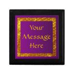 Púrpura y caja personalizada oro cajas de joyas