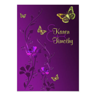 """Púrpura y cal florales con las mariposas invitación 5"""" x 7"""""""
