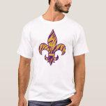 Púrpura y camiseta rayada de la flor de lis del