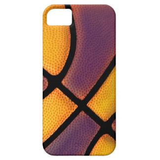 púrpura y caso del baloncesto del oro iPhone 5 fundas