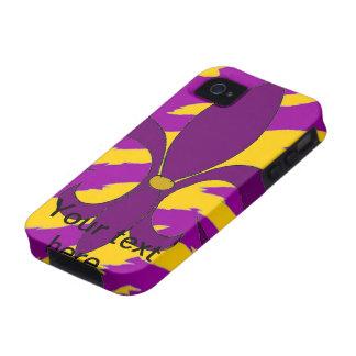 Púrpura y caso del iPhone de la flor de lis del or iPhone 4 Carcasa