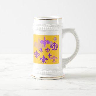Púrpura y cerveza Stein de la flor de lis del oro Jarra De Cerveza