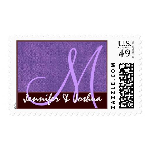 Púrpura y chocolate del monograma de novia y del envio