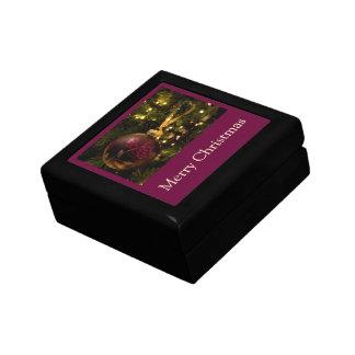 Púrpura y chuchería del navidad de Borgoña Cajas De Recuerdo