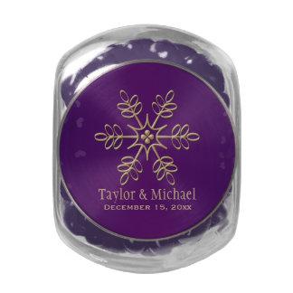Púrpura y copo de nieve del oro jarras de cristal