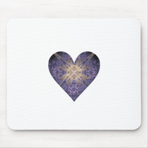 Púrpura y corazón del arte del fractal del oro alfombrillas de raton