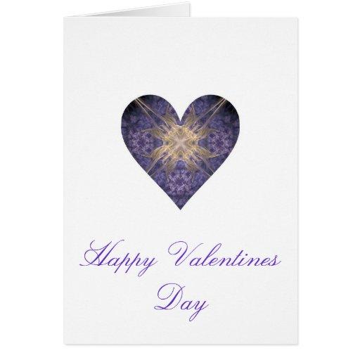 Púrpura y corazón del arte del fractal del oro tarjeta de felicitación