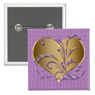 Púrpura y corazón del oro pin cuadrado