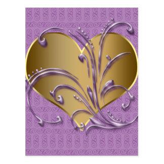 Púrpura y corazón del oro tarjetas postales