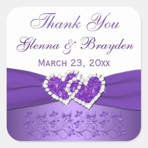 Púrpura y corazones unidos blanco que casan al calcomania cuadradas personalizadas