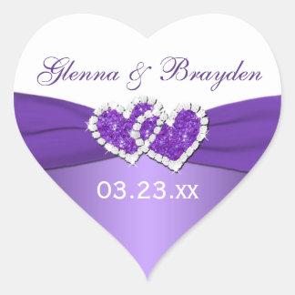 Púrpura y corazones unidos blanco que casan al colcomanias corazon personalizadas