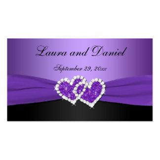 Púrpura y corazones unidos negro que casan la tarjetas de visita