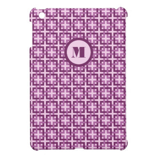 Púrpura y cubierta del iPad de los cuadrados de la