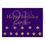 Púrpura y cumpleaños del oro 21ro tarjeta