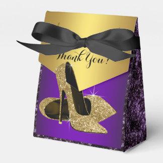 Púrpura y cumpleaños del zapato del tacón alto del cajas para detalles de boda