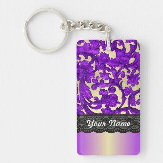 Púrpura y damasco del cordón del oro llavero rectangular acrílico a doble cara