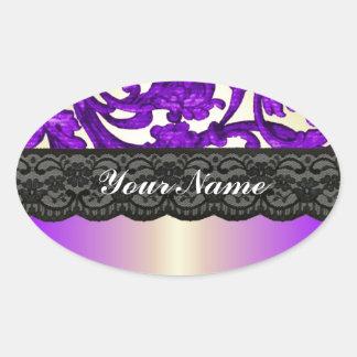 Púrpura y damasco del cordón del oro pegatinas oval personalizadas