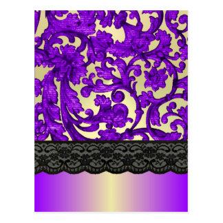 Púrpura y damasco del cordón del oro postales