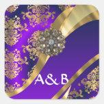 Púrpura y damasco del oro etiquetas