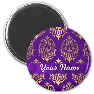 Púrpura y damasco del oro imán redondo 5 cm