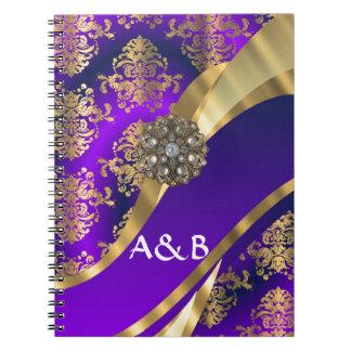 Púrpura y damasco del oro libreta espiral
