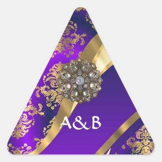 Púrpura y damasco del oro pegatina triangular