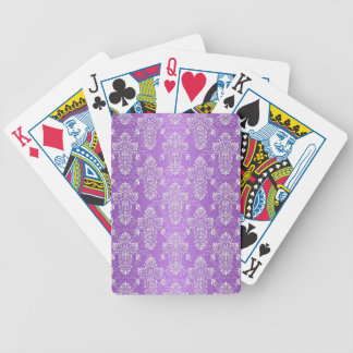 Púrpura y damasco del tono de la lavanda dos baraja cartas de poker