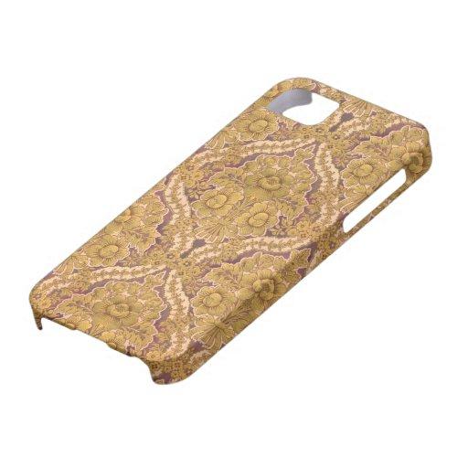 Púrpura y damasco floral del Victorian del oro iPhone 5 Case-Mate Cárcasa