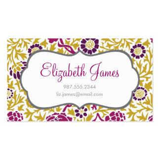 Púrpura y damasco floral retro del oro tarjetas de visita