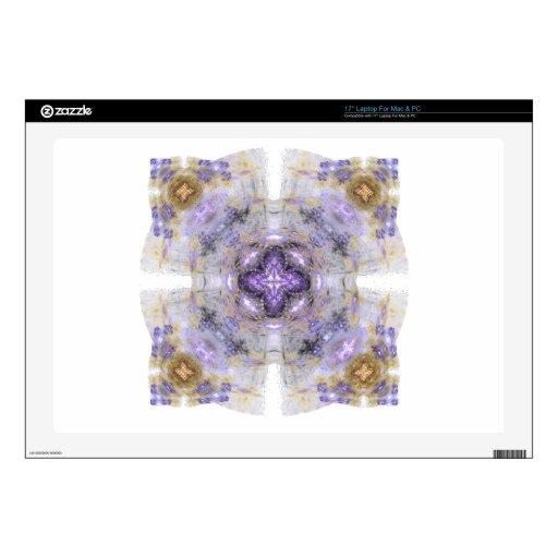 Púrpura y diseño del arte del fractal del cuadrado 43,2cm portátil calcomanía