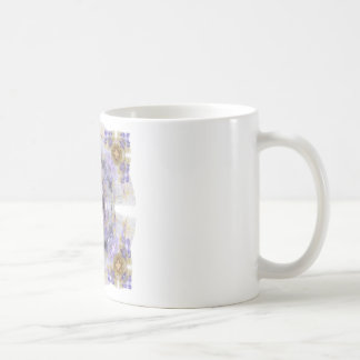 Púrpura y diseño del arte del fractal del cuadrado tazas de café