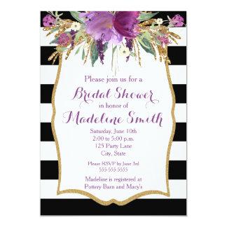 """Púrpura y ducha nupcial de las flores de la invitación 5"""" x 7"""""""