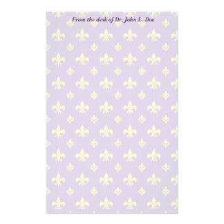 Púrpura y efectos de escritorio de la flor de lis  papelería de diseño