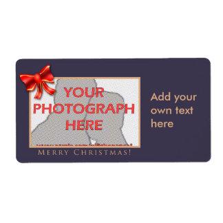 Púrpura y etiquetas adaptables de la foto del oro etiqueta de envío