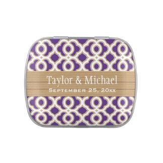 Púrpura y favor marroquí del boda del oro latas de dulces