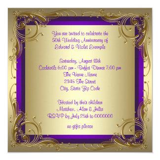 """Púrpura y fiesta de aniversario del boda del oro invitación 5.25"""" x 5.25"""""""