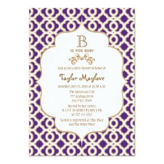 Púrpura y fiesta de bienvenida al bebé marroquí de invitación 12,7 x 17,8 cm