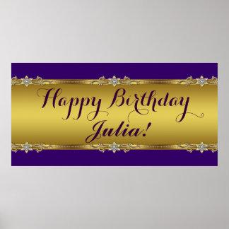 Púrpura y fiesta de cumpleaños del oro póster
