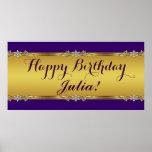 Púrpura y fiesta de cumpleaños del oro poster