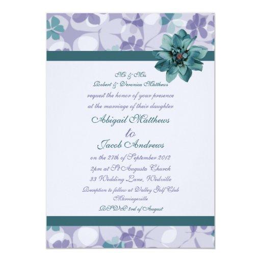 Púrpura y flor azul del trullo - invitación del