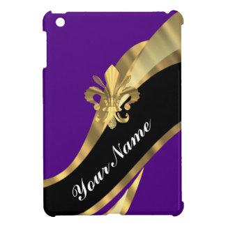 Púrpura y flor de lis del oro iPad mini carcasa