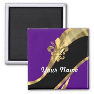 Púrpura y flor de lis del oro imán cuadrado