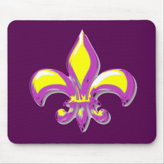 Púrpura y flor de lis del oro tapetes de ratones